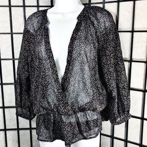 • Bar lll Women Sheer Polkadot Black Blouse V Neck